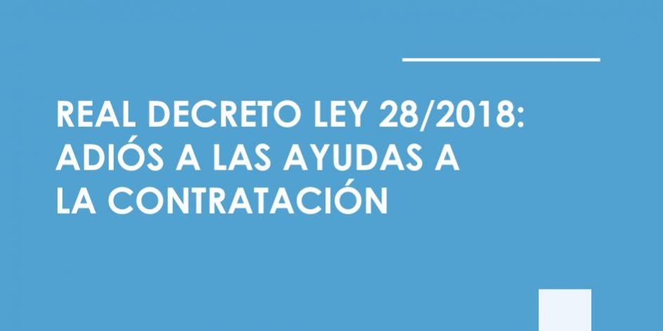 ayudas a la contratacion Real Decreto Ley 28/2018